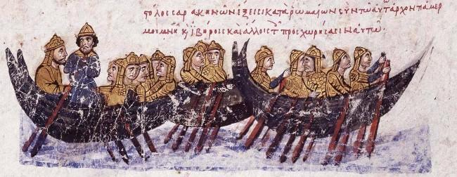 13th century Byzantine depiction of Islamic ships - from History of John Skylitzes (Skyllitzes Matritensis (Biblioteca Nacional de España))