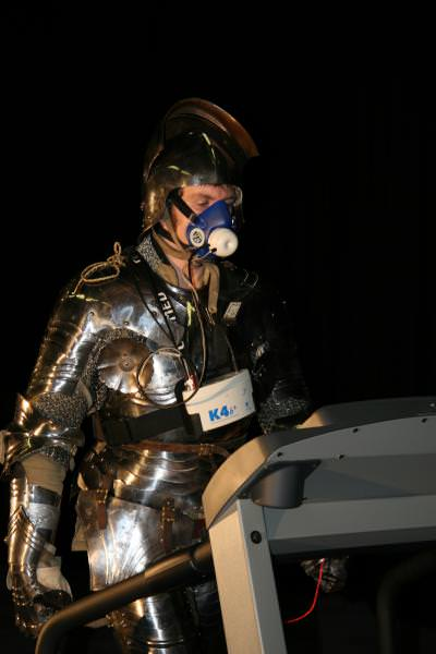 Wearing armor has been shown to use more than double the energy required to walk and run. Credit: Courtesy of the University of Leeds