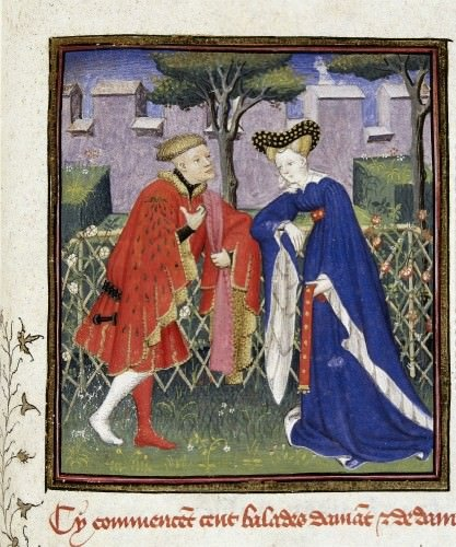 Detail of a miniature of the lover telling of his love to his lady in a garden.  - British Library Harley 4431 f.376