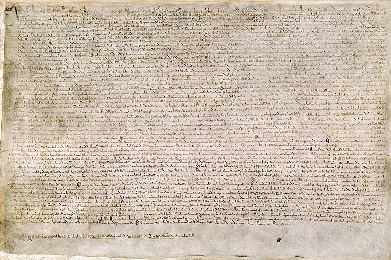 Magna Carta - One of only 4 surviving exemplifications of the 1215 text, Cotton MS. Augustus II. 106, property of the British Library