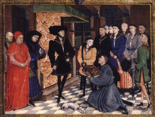 Miniature, illustration from page 1 of Les Chroniques de Hainaut. The Duke of Burgundy, Philip the Good, and his son Charles (later to be known as Charles the Bold), being paid homage by the author of the Chronicles of Hainault. Van der Weyden's only surviving miniature.