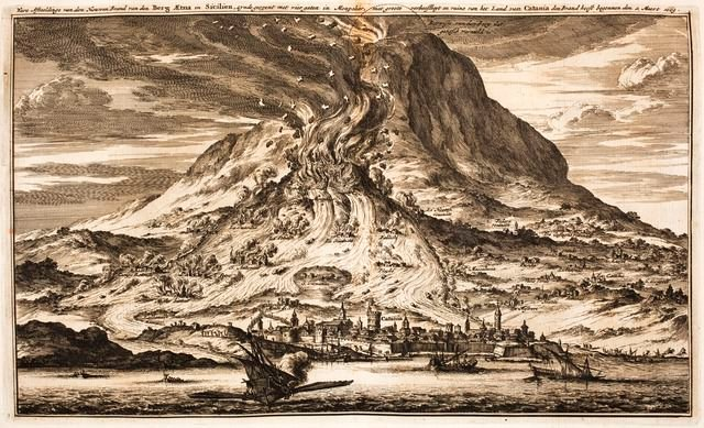 Eruption of the Etna volcano, March 2 1669, seen from the east with Catania