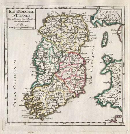 18th century map of Ireland