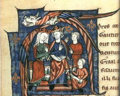 12th-century depiction of Henry and Eleanor holding court