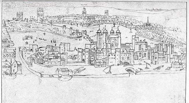 Drawing by Antony van den Wyngaerde View of London - The Tower of London - 16th century