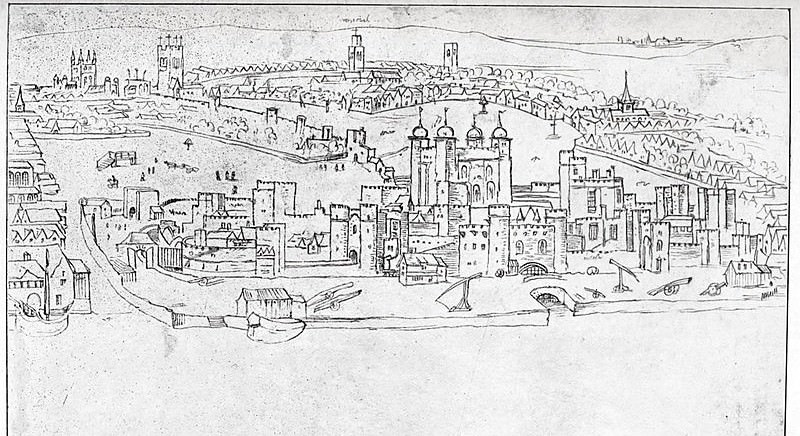 Drawing by Antony van den Wyngaerde View of London - The Tower of London - 16th century