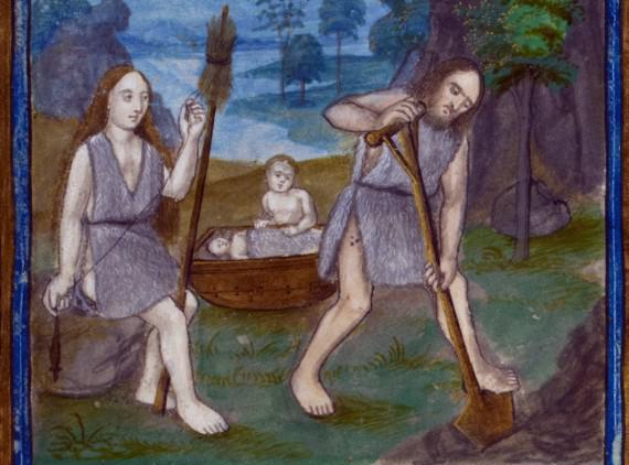 Detail of a miniature of Adam digging and Eve spinning with their children in the background. - British Library MS Harley 2838   f. 5