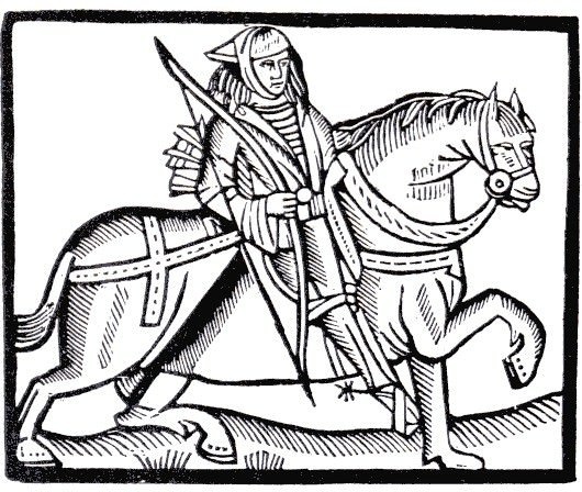 Mounted man carrying bow, from A Lytell Geste of Robyn Hode, published in Antwerp in c.1500