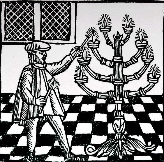 18th century woodcut depicting Hanukkah ceremony