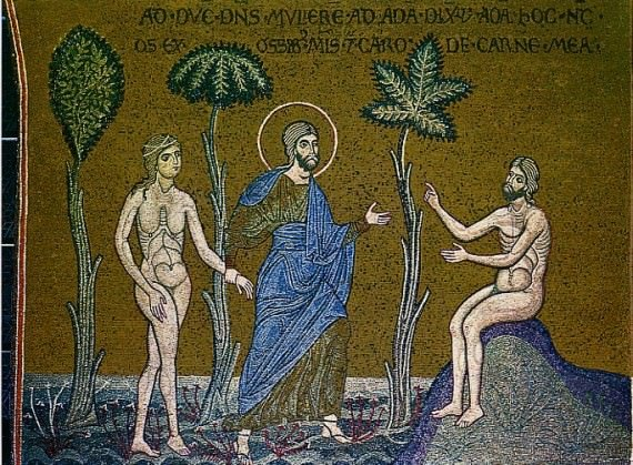 12th century depiction of Adam and Eve in Sicily