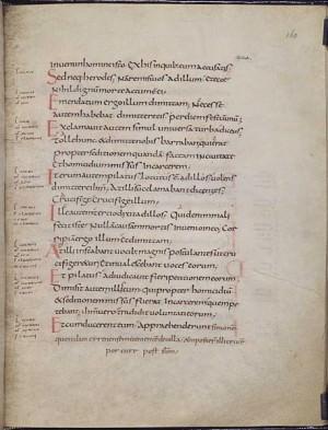 Page of text (folio 160v) from a Carolingian Gospel Book (British Library, MS Add. 11848), written in Carolingian minuscule. Text is Vulgate Luke 23:15-26.