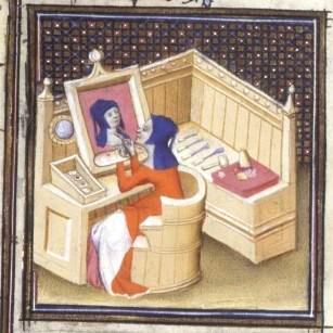 Medieval illuminated manuscript; person painting a self-portrait without a mirror.