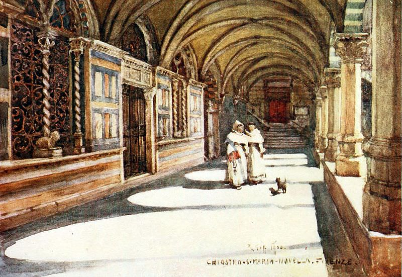 The Green Cloister in Santa Maria Novella - picture created in 1900.