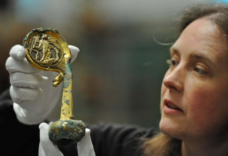 Curator Susan Harrison with the Furness Abbey crozier - photo courtesy English Heritage