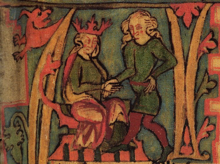 King Haraldr hárfagri receives the kingdom out of his father's hands. From the 14th century Icelandic manuscript Flateyjarbók, now in the care of the Árni Magnússon Institute in Iceland.