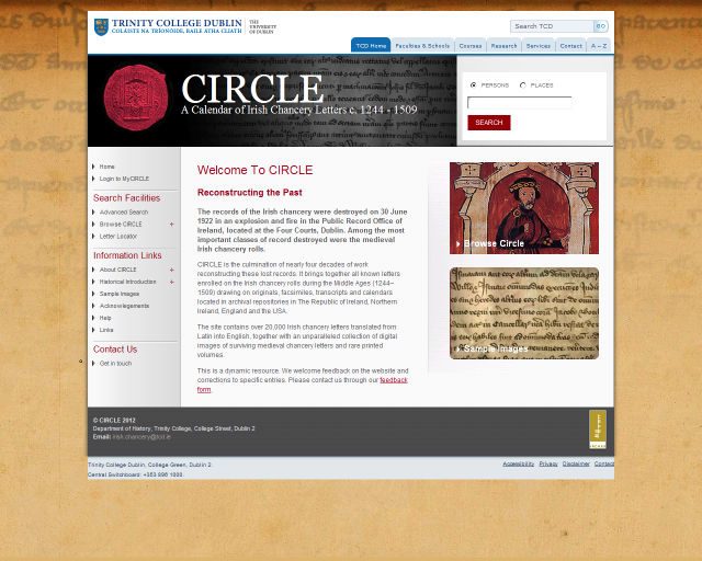 CIRCLE: A Calendar of Irish Chancery Letters, c.1244–1509