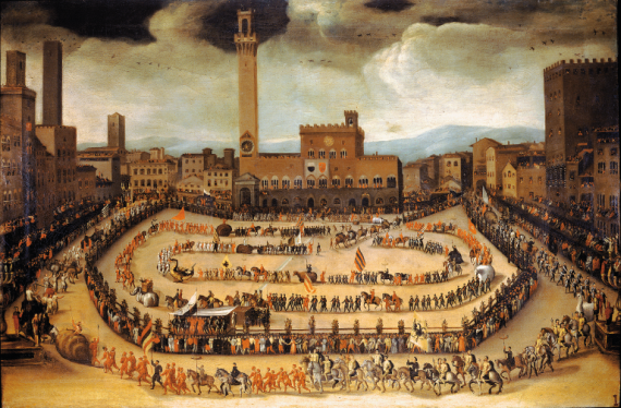 Vincenzo Rustici depicting the opening ceremonies of the Palio in Siena from the 16th century