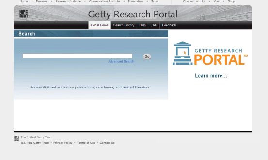 The Getty Research Portal is a free online search gateway that aggregates descriptive metadata of digitized art history texts, with links to fully digitized copies that are free to download.