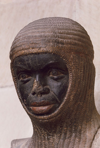 Detail of a statue of St. Maurice, patron saint of the Holy Roman Empire, 1973 Sandstone (traces of polychromy remaining) Magdeburg, Germany, Cathedral of St. Maurice and St. Catherine, choir, ca. 1240-50