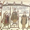 When an anonymous artist designed the Bayeux Tapestry shortly after the Norman conquest of England he presented some of the action as taking place in the present time and some in the past.