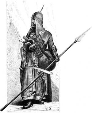 Mamluk soldier in full armour - 19th century image