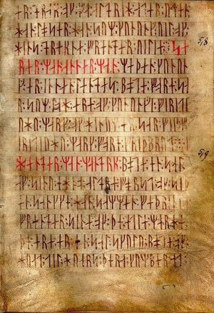 AM 28 8vo, known as Codex runicus, a vellum manuscript from c. 1300 containing one of the oldest and best preserved texts of the Scanian law (Skånske lov), written entirely in runes.
