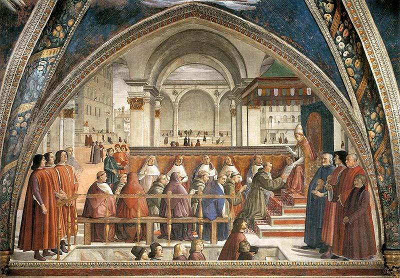 The Confirmation of the Franciscan Rule (Cappella Sassetti, Santa Trinità, Florence) - 15th century