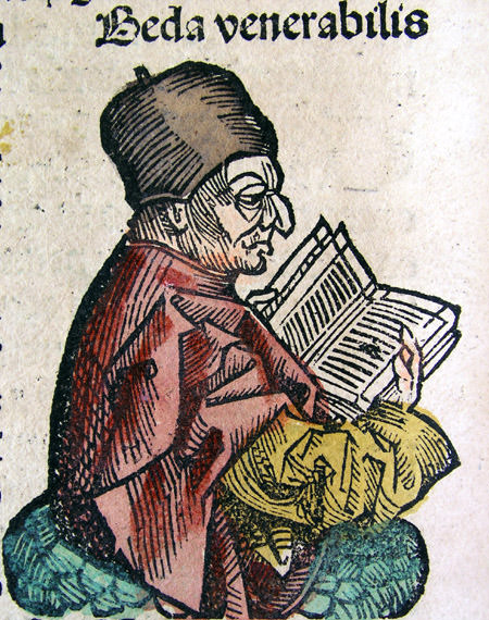 Depiction of the Venerable Bede (CLVIIIv) from the Nuremberg Chronicle, 1493.