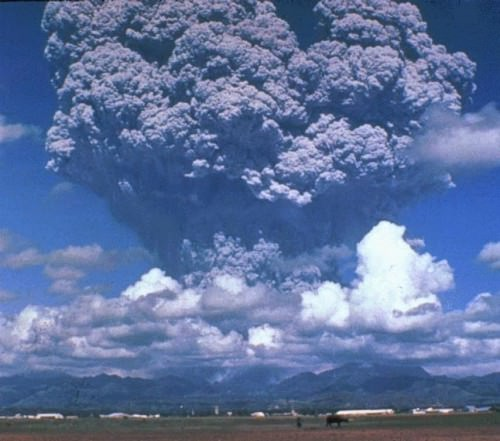 Ash plumes reached a height of 19 km during the climactic eruption at Mount Pinatubo, Philippines in 1991.