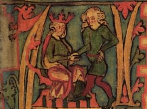 icture of King Harald from the 14th century Icelandic manuscript Flateyjarbók.