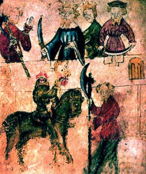 Sir Gawain and the Green Knight - from original manuscript, date unknown.