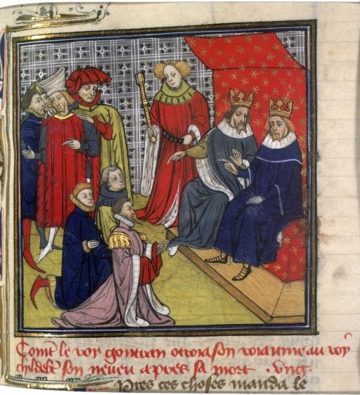 Merovingian rulers Guntram and Childebert II, from the Grandes Chroniques de France.