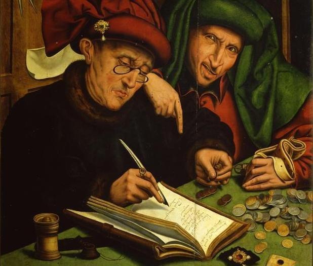 The usurers, Marinus van Reymerswaele (1490 - 1567) - medieval usury