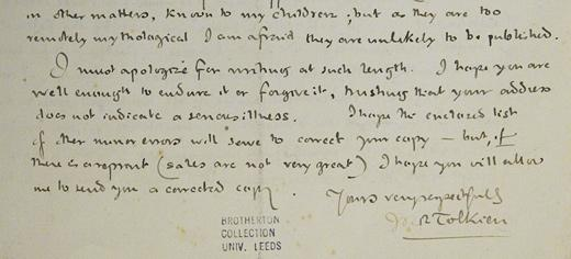 Tolkien Letter  - image courtesy University of Leeds