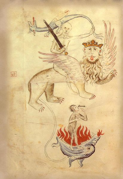 "From the Apocalypse in a Biblia Pauperum illuminated at Erfurt around the time of the Great Famine of 1315–1317. Death ""(Mors"") sits astride a lion whose long tail ends in a ball of flame (Hell). Famine (""Fames"") points to her hungry mouth."
