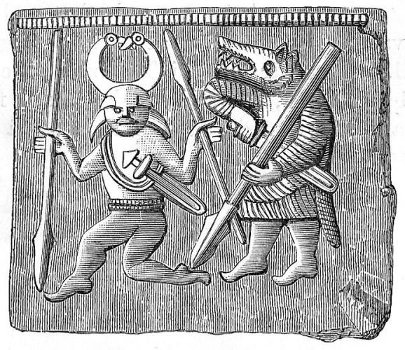 Beserkers - Vendel era bronze plate found on Öland, Sweden.