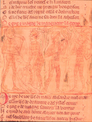 Depiction of Gog and Magog, horrible giants thought to be ancestors of the Mongols. From Romance of Alexander, Trinity College, Cambridge.