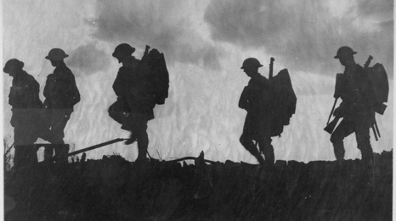 Fresh troops moving up to advanced position, France. Yorkshire regiment advancing at dusk.