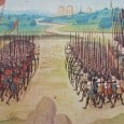 The present study aims at using a modern continuum theory that includes contact between individuals, to model the mediaeval Battle of Agincourt in 1415