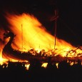 Each year on the last Tuesday of January the town of Lerwick is awash with Vikings. The day culminates with the burning of an ornate longship, complete with dragon head and tail, thus creating a striking image of a Norse sea - king's funeral pyre.