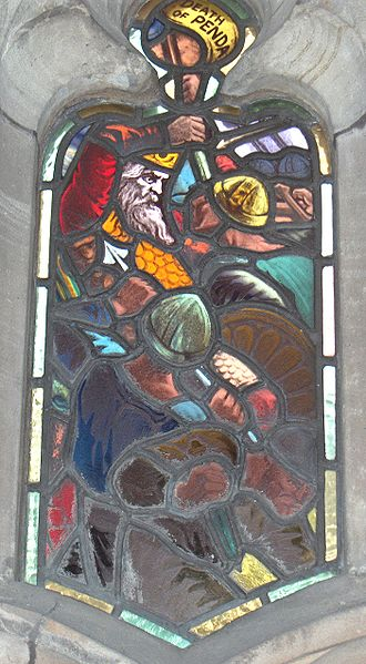 Stained glass window from the cloister of Worcester Cathedral showing the death of Penda of Mercia.