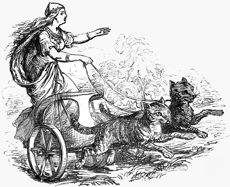 The goddess Freyja, riding in her cat-pulled wagon