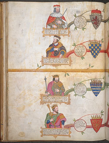 Miniature of busts of Geoffrey, Duke of Ardenne; William, Count of Warenne; Godfrey, 'Erle of Arigy'; and Eric, Count of Bigorre; each with their arms and at the beginning of a branch of the genealogical tree.