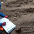 Thirteen skeletons have been uncovered lying in two carefully laid out rows on the edge of Charterhouse Square at Farringdon, and are believed to be up to 660 years old.