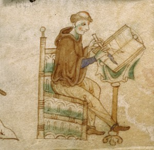 Detail of a miniature of a scribe writing the miraculous Gospels of Kildare - Royal 13 B.VIII, f.22