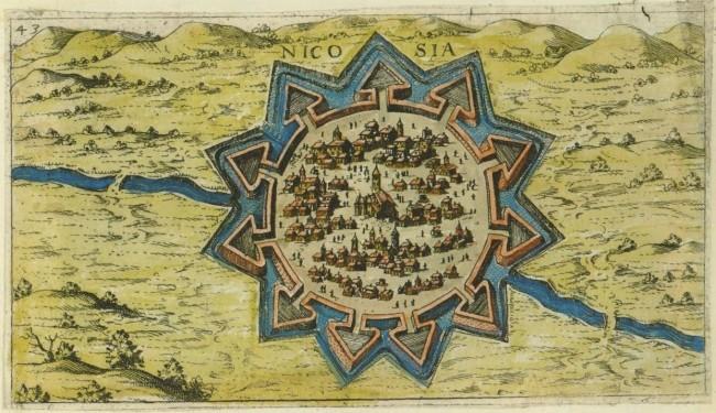 Map of Nicosia in Cyprus, created in 1597 by the Venetian Giacomo (Jacomo) Franco (1550-1620) for his book Viaggio da Venetia a Constantinopoli per Mare