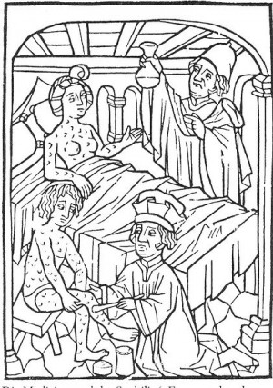 The earliest known medical illustration of patients suffering from syphilis, Vienna, 1498