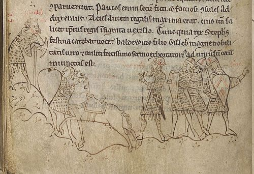 Battle of Lincoln, in Henry of Huntingdon's Historia Anglorum. Captions identify the man to the left as Baldwin FitzGilbert and the central crowned figure as King Stephen; the king is directing Baldwin to address the army of his behalf.