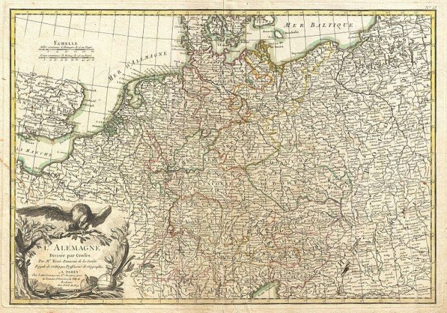 18th century map of germany