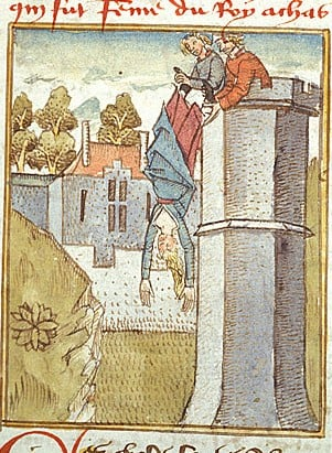 Detail of a coloured drawing with Jezebel thrown from a tower on the order of Jehu ('Jheu').